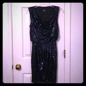 Beautiful Navy Sequined Cocktail Dress